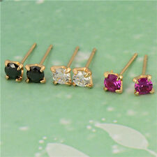 Classic 18K Yellow Gold Filled Colorful Swarovski Crystal Womens Stud Earrings