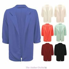 NEW WOMENS LADIES CASUAL OPEN BLAZER PLAIN SMART SLIM SUIT JACKET COAT