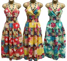 NEW Monsoon Summer Strappy Midi Dress Floral Spot Print in Teal Yellow Red
