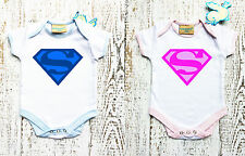 Baby Bodysuit with SUPERMAN logo for boy and for girl. Baby grow.