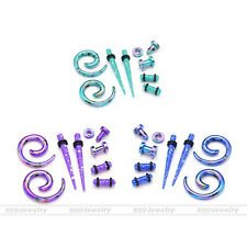 4Pair Acrylic Tapers Spiral Expander Ear Screw Tunnel Plugs Stretching Gauge Set