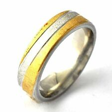 Womens Mens Stainless Steel Silver Gold Plated Scrub punk Ring Size 8-11