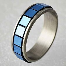 Fashion Womens Stainless Steel mystic Blue Square Spinner Band Ring Size 6-9