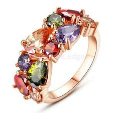 Colorful Zircon Shiny Crystal Wedding Party Fashion Ring Rose Gold US-6/7/8/9