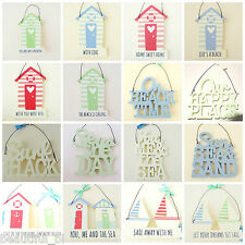 Wall Plaque Hanging Signs Beach Hut Nautical Seaside Theme Hook Peg Letters Gift