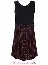 Kids Children Girls Polka Dot Dress Party Sleeveless Bow Tie Front Dress