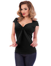 Steady Clothing Sweetheart Tie  Solid Black Top pinup girl rockabella