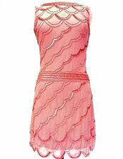 Coral Vintage 1920s Flapper Gatsby Downton Abbey Fringe Beaded Dress Size 8-24