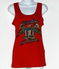 Red Tank Top Tee Cotton Harley-Davidson Made in USA Crystal Bling and Studs