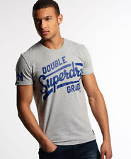 Superdry Mens Double Grade Entry Retro Crew T-Shirt Cotton Grey Marl (#10136)