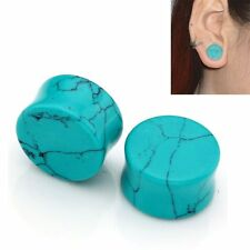 1pair 2g-16mm Green Turquoise Double Flared Organic Stone Ear Plug Gauge Earring