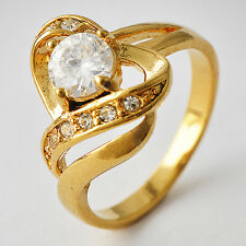 Womens 14K gold filled Clear Crystal CZ Heart Eternity Band Ring Size 7-9