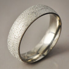 Fashion Mens Titanium silver plated Scrub love Ring Size 7-11 Jewelry