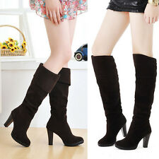 Women's Fashion Chunky High Heel Boots Knee High Ladies Vogue Shoes Casual Boots