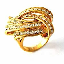 Vintage Womens 14K gold filled Clear CZ Mystic Cocktail Band Ring Size 6-10