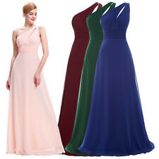 One Shoulder Long Chiffon Bridesmaid Evening Prom Dress Party Cocktail Grade