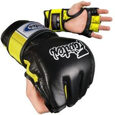 Fairtex Ultimate Combat MMA Gloves - Open Thumb - Black / Yellow
