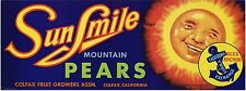 PEAR CRATE LABEL SUNSMILE COLFAX SUN VINTAGE CARTOON 1940S ORIGINAL 1/2 BOX
