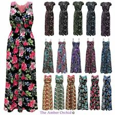 LADIES CELEBRITY WOMENS TROPICAL FLORAL ROSE LACE LONG SUMMER CASUAL MAXI DRESS