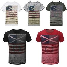 Casual Cool Mens Short Sleeve Tops Cotton Crew Neck Printed T-shirt Basic Tee D9