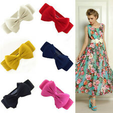 Fashion Women Girls Bowknot Elastic Bow Wide Stretch Buckle Waistband Waist Belt