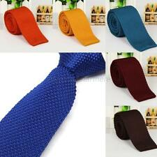 New Luxury Mens Plain Woven Tie Fashion Solid Men Knitted Skinny Casual Necktie