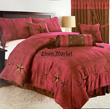 Rustic Burgundy Embroidery Texas Star Western Luxury Comforter Suede - 7 Pc Set