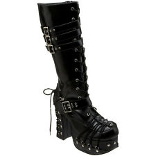 """DEMONIA CHARADE 206 4 1/2"""" Goth Punk Lolita Knee Boot Corseted D Ring Lace Up"""