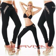 Womens Skinny Black Pants Size 6 8 10 12 New Sexy with Leopard Trim