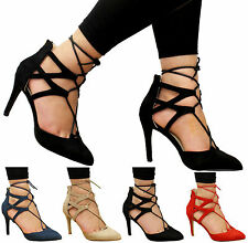 Ladies Womens Lace Up High Heels Ankle Strap Gladiator Sandals Court Shoes Size