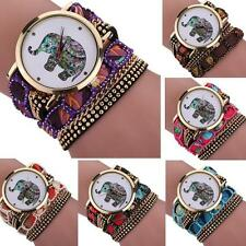 New Women Girl Fashion Rhinestone Elephant Pattern Quartz Bracelet Wrist Watch