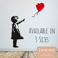 Banksy, Girl and Red Balloon Wall Mural Sticker Decal, Tall, London Street Art