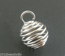 Wholesale Silver Tone Spring Bead Cages Pendants 8x9mm