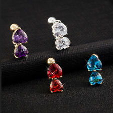 Crystal Bar  Double Love Belly Ring Zircon Reverse Nail Body Jewelry Navel