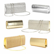 Diamante Crystal Cover Flap Evening Bag Faux Leather Clutch Prom Wedding Purse
