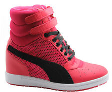 Puma Sky Wedge Womens Hi Top Trainers Pink Velcro Strap Shoes 355427 06 D51