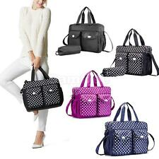 3pcs Mummy Handbag Polka Dot Baby Nappy Diaper Changing Bag Bottle Holder Bag