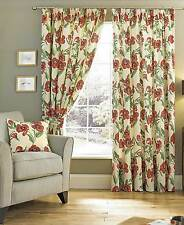 """POPPY PRINT RED 3"""" TAPE TOP LINED CURTAINS - ACCESSORIES AVAILABLE - NEW PRICE!"""