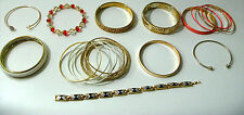 Gold Bracelets Yellow Bangles Chain Etched White Topaz Gemstone Heart