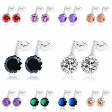 Vintage Cute womens jewelry lucky rainbow crystal silver plated stud earrings