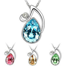 Charm Pendant Silver Chain Crystal Rhinestone Necklace Fashion Jewelry Gift New