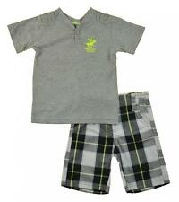Beverly Hills Polo Club Toddler Boys Gray Top 2pc Short Set Size 2T 4T $34