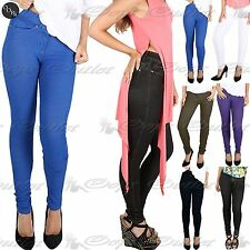 Womens Ladies Skinny Fit Coloured Stretchy Jeans Trousers Leggings Jeggings 8-16