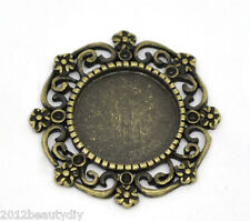 Wholesale Bronze Tone Round Cameo Frame Settings 27x27mm