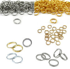 100Pcs Metal Silver Double Gift 7/8/10mm Split Rings Jump Gold Open Connectors