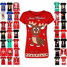 Womens Christmas T Shirt Ladies Baby Reindeer Cap Novelty Sleeve Cotton Xmas Top