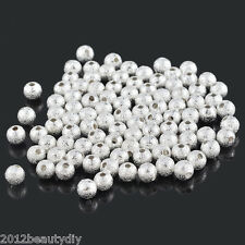Wholesale Silver Plated Stardust Ball Spacer Beads 5mm Dia