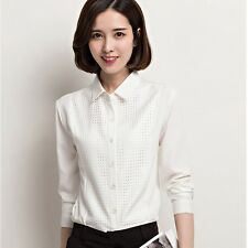 Women OL Spring Fashion Hollow Grid White Long Sleeve Chiffon Blouse Shirt Tops