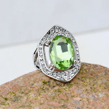18K White Gold Plated Green Crystal Ring Elegant Jewelry CZ Rhinestone Gift New