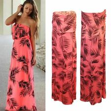 Summer Women Tropical Floral Printed Strapless Long Dress Slim Ladies Midi Dress
